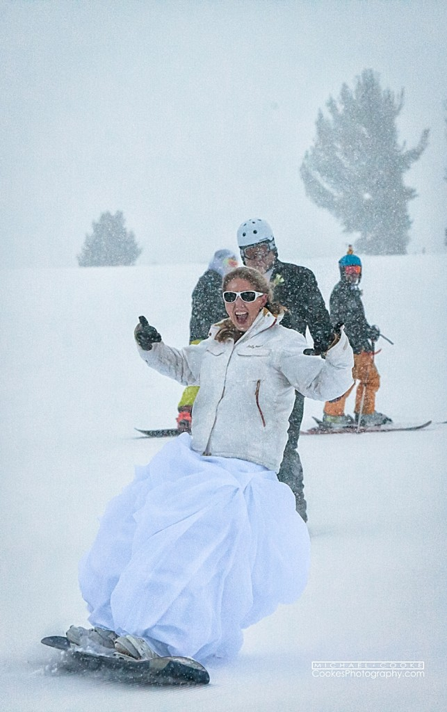 snwboarder bride on mammoth mountain | Cooke's Fine Photography